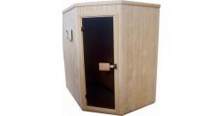 Ъглова панелна сауна изработена от бял бор, размери 1.50x1.50x2.10м