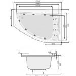 Панел за вана Aquamarina, десен, бял